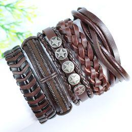FL112-free shipping (5pcs lot) handmade star metal bangles,ethnic tribal genuine wrap leather bracelet , Christmas gift