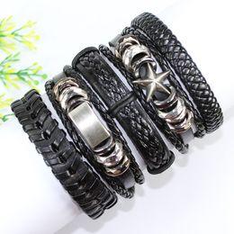 F8-free shipping (5pcs lot) handmade star metal rock bangles,punk wristband, ethnic tribal genuine wrap leather bracelet