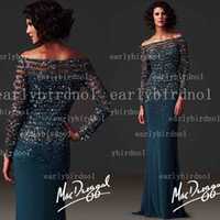 Reference Images sexy mother - 2014 vestidos formales Formal Evening Dresses Sexy Off Shoulder Long Sleeve Sequin Crystals Chiffon Vintage Mother Of The Bride Gowns D