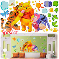 Wholesale 5pcs New kids Colorized Large Size Good Quality DIY Animals Bear Decoration Fashion Wall Stickers