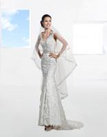 Sheath/Column Reference Images V-Neck Lace V Neck Wedding Dresses Round Back Off Shoudler Sheath Bridal Gown Demetrios Court Train 2014 Beaded