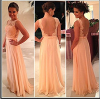 2014 Popular Lace Evening Dresses Crew Sexy Backless A- Line ...