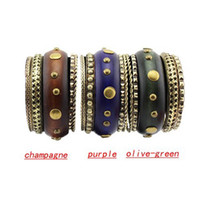 Bangle South American Women's Fashion Punk Multi Metal Rivets Spike Wooden Bracelets Bangles Vintage Jewelry 10pcs lot VB-010
