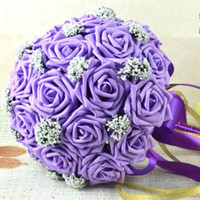 Wholesale 2014 Artificial Flowers Wedding Bouquet Lavender Lilac Purple Pink White Blue Red Roses Hand Holding Silk Wedding Favors in Stock