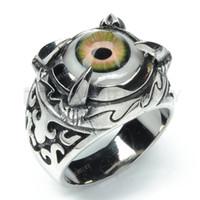 Teboer Bijoux 2pcs / LOT en acier inoxydable Evil Eye Dragon Claw Ring MER143