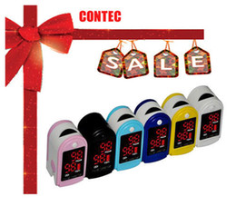 Wholesale CONTEC Pulse Oximeter CMS50DL Six Color LED display Pulse Rate Bar Graph Pulse Waveform CE amp FDA Free Sipping