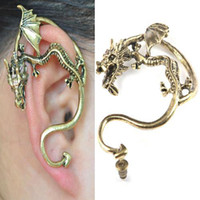 Wholesale S5Q Fashion Women Vintage Lovely Personality Inflated Top Design Dragon Earring AAABBD