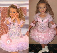 Wholesale Baby Dress For Girls Organza Pink Crystals With Long Sleeves Mini Isabella Little Girl s Pageant Dresses Glitz Kids Party Ball Gowns