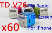 2.1 antennae music - 60x TD V26 FM radio Music Speaker Mini USB antenna TF LED Screen for iPhone amp mp3 Portable DHL Fedex free colors