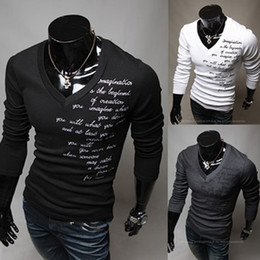 Wholesale S5Q Mens Luxury Casual Slim fit V neck T shirt New Fashion AAACSD