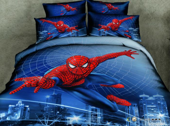 Spider Man 3D Comforter Covers Queen Size Bule Doona Duvet Cover Bed Sheet Bedclothes Cotton