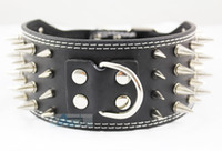 Wholesale New Styles Black quot wide Row Spiked Dog Leather Collars Pit bull Dog Terrier Collars P49 B