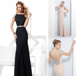 Wholesale 2014 Tarik Ediz Dazzing Sash Mermaid Modern Crystals Cap Sleeves Beaded Pageant Gowns Evening Party Gowns Prom Dresses