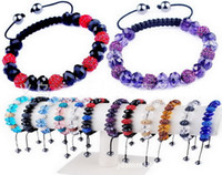 Wholesale Charming Shamballa bracelets alloy rhinestone crystal ball handmade10mm crystal ball balls Bead Ball Bracelet