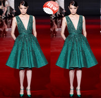 Reference Images V-Neck Taffeta 2014 Sexy V-Neck Short Taffeta Lace Elie Saab Crystal Prom Evening Dresses Celebrity Red Carpet Party Dress Little Green White Red Dresses