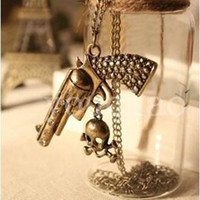 Wholesale Antique Bronze Necklace Gun Skeleton Skull Pendant Sweater Jewelry Vintage Long Chain Hip Hop Shiny Colors Machine Lovely Pendants