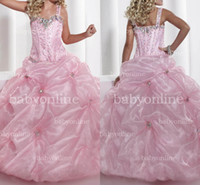 Wholesale 2013 Cute Pink Little Girl Pageant Ball Gown Spaghetti Straps Colorful Sequins Beaded Floor Length Formal Evening Princess Dresses
