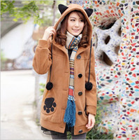 Wholesale New women sweet hoodies colors sizes cartoon cat paw prints thicken long students fleeces slim outwears