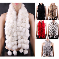 Wholesale S5Q New Women rabbit Fur Collar Neck Wrap Scarf Girl scarf Shawl AAACRN