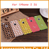 Wholesale Fluorescent Wooden Skin Protectors Stickers With Screen Protector For Iphone S Full Cell Phone Decal Free DHL Shipping