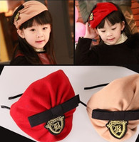 Wholesale Fall Winter Navy Wind Hair Clasp Fashion Girls Beret Hats Caps Children Head Band Hat Kids Hair Accessories Baby Cap Random Colour QZ248
