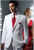 Reference Images 100% wool suits - 2014 Two Buttons Notch Lapel Flap Handmade Tailored Groom Tuxedo Men Suits White Cotton Tuxedo Suit Dhyz