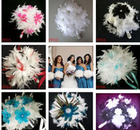 Wholesale Wedding Feather Flower Bouquet Feathers Gem Rhinestone Brides BOUQUET Ostrich Feathers Flowers Bride Feathers Bouquet Photography Photo Prop