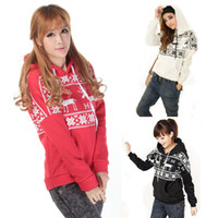 Wholesale S5Q Cute Women Winter Sweatshirts Deer Snow Print Hoodie Outwear Cloth AAACRZ