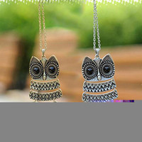 S5Q Metal Vintage Owl Pendentifs Pendentifs Pendentifs Long Chain Collier Girls Lady Gift AAAAEG