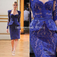 Reference Images Sweetheart  Lace 2014 Sheer Lace Applique Blue Mother Of The Bride Sweetheart Sheath Column Knee Length Beaded Jacket Sexy Zipper Standard Size