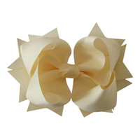 Wholesale 6 quot Large Solid grosgrain ribbon Layer spike Hair Bow clip
