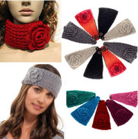 Wholesale Women Crochet Headband Knit hairband Flower Winter Ear Warmer Headwrap CW05005