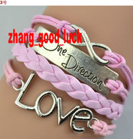 Wholesale NEW Woven bracelet One Direction Anchor Infinity antique Cross Love Peace Heart Music mix wish Leather Bracelet Charm Wristbands