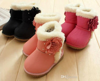 Wholesale New Arrival Winter Baby Girls Cute Boot Children D Flowers Warm Snow Shoes Kids Cotton Shoes Black Pink Rose Color Pair bvc