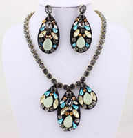 Wholesale fashion and new opal green rhinestones amp balck fabric sewn water drop necklace and earring jewelry set amp price