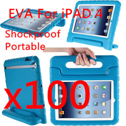 Wholesale Baby Safe EVA Foam Handle Stand Case For ipad Portable Shockproof Best Qualtiy Soft Handle DHL free colors black MOQ