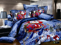 Wholesale Stunning Christmas Bedspreads Cotton Blue Xmas Christmas Comforter Bedding Duvet Cover pc King Queen Full