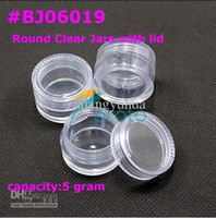 Wholesale 1000pcs g small clear round bottle jars hard plastic pot nail art storage