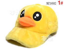 Handmade Velvet baby cap Yellow Duck hat for 3-10 years old children 10pcs free shipping