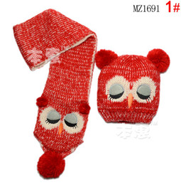 Cute Sleep Owl plush Knit Wool Winter Beanie Crochet Cap Hat Scarf Suit for Baby Kid for Gifts