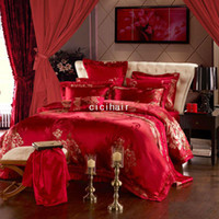 Adult Twill 100% Cotton Brand 10pcs red jade bedding set King adult size comforter duvet quilt cover sets wedding bedsheet bedcover coverlet for a bed