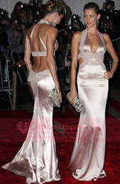 Wholesale Pearl Pink Halter Deep V Neck Long Celebrity dresses with Backless Style BO3381