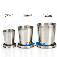 Wholesale 75ml ml ml Portable Stainless Steel Folding Retractable Mini Travel Cup Keychain Telescopic okcbuy