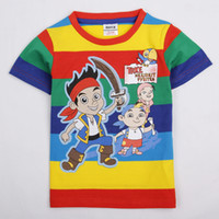 Wholesale Nova m y children boys T shirts kids cartoon clothing Junior Jake and the Neverland Pirates games colorful stripes tees