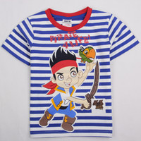 Wholesale Latest Nova kids summer wear m y children boys T shirts catoon Junior Jake and the Neverland Pirates printing stripes tees