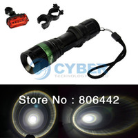 Wholesale Bike Bicycle Light Set LED W LM CREE Q5 Flashlight Torch Mount Holder Warning Rear Flash Light TK_CB42