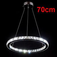 Wholesale 70cm LED Suspension Hanging Light Lustre Crystal Chandelier Stainless steel Pendant Lamp Modern Home Lighting Fixture PL272