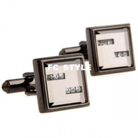 Wholesale wooden cufflinks Crystal bars in white backing cufflinksman s copper and white steel