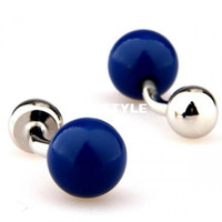 Wholesale cuff daddy Fashion Blue Ball Round Cufflinksman s copper and white steel