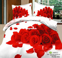 Adult Twill 100% Cotton 3D rose printed bedsheets bed linen sets 100 Cotton doona duvet cover quilts red purple white 4pcs bedding set Full queen size
